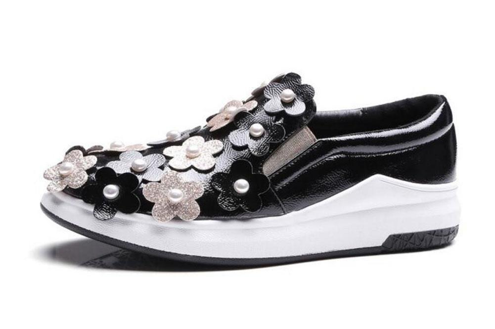 GLTER Mujeres Plataforma Zapatos Estéreo Flores lentejuelas ...