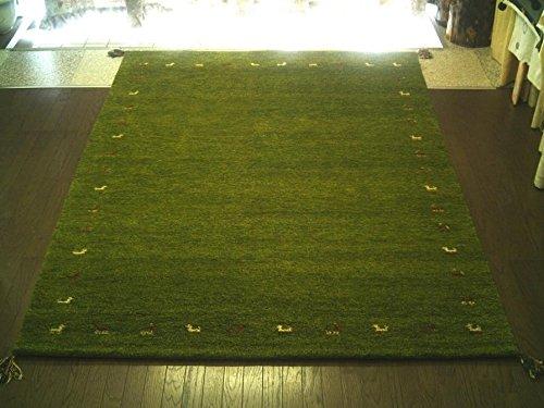ラグマット ギャッベ ギャベ 160×230 3畳 インド手織りギャッベ カーペット ラグ 絨毯  緑芝生草グリーン160×230 B00XXA0RMA