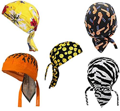 Doo Rag Skull Cap Set Bandana Wrap Smiley Face Tropical American Flag Zebra Orange Stripes (Motorcycle Face Wraps)
