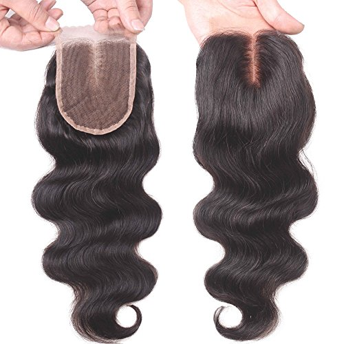 EVA HAIR Brazilian Body Wave Top Closure Unprocessed Human Hair Lace Closure Bleached Knots with Baby Hair Middle Part Closure(8 inch)