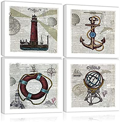 Anchor An Lighthouse Swimming Ring Globe Sailboat Wall Art Decor Boat Ship Steering Wheel Canvas Painting Kitchen Prints Pictures For Home Living Dining Room Posters Prints