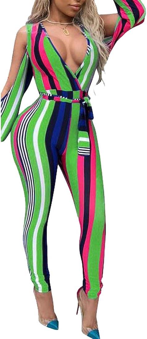 Beloved Women Fashiopn Split Sleeve Striped Wide Leg Pants Bodysuit Romper