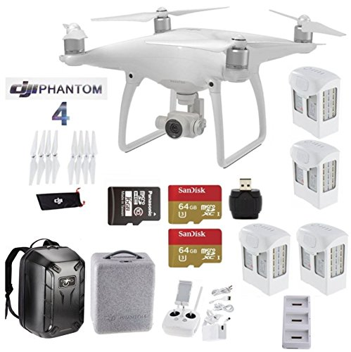 DJI-Phantom-4-Deluxe-Bundle-Includes-4-Intellegent-In-Flight-Batteries-Battery-Charging-Hub-2-Extended-Video-64GB-Micro-SD-Memory-Card-Travel-Hard-Shell-Back-Pack