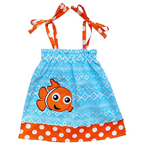 [So Sydney Toddler Girls Adjustable Strap Pillowcase Costume Dress or Tunic Top (XXS (12-18 Months), Clown Fish] (Pillowcase Dress Costume)