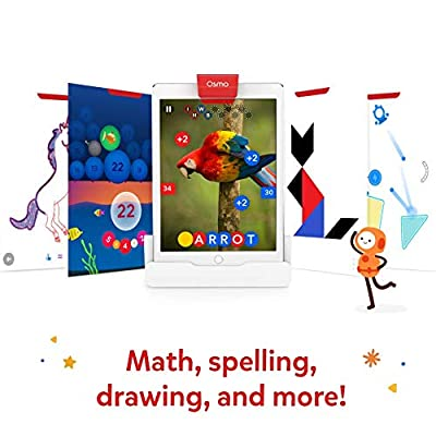 Osmo - Genius Starter Kit for iPad - 5 Hands-On Learning Games - Ages 6-10 - Math, Spelling, Problem Solving, Creativity & More - (Osmo iPad Base Included): Toys & Games