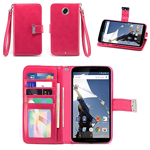 IZENGATE Google Nexus 6 Wallet Case - Executive Premium PU Leather Flip Cover Folio with Stand (Deep Rose Pink)