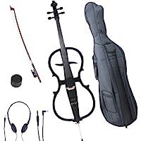 Cecilio 4/4 CECO-1BK Black Metallic Electric Cello with Ebony Fittings in Style 1 (Full Size)