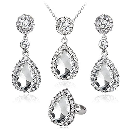 Gbell Fine Women Diamond Necklace Earring Ring Set - Metal Crystal Jewelry Bib Pendant Chain Necklace Set Ladies Party Ball Date Anniversary Engagement Wedding Gift Wearing from Gbell