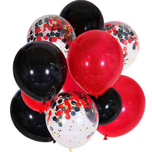 Jovitec 30 Pieces 12 Inches Latex Balloons Confetti Balloons for Wedding Birthday Party Decoration (Black and Red)