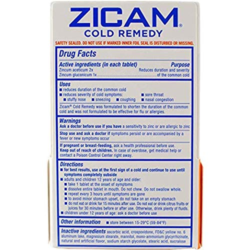 Zicam Cold Remedy RapidMelts Citrus Flavor Quick Dissolve Tablets, 56 Count Homeopathic Pre-Cold Medicine for Shortening Colds (56 Count)
