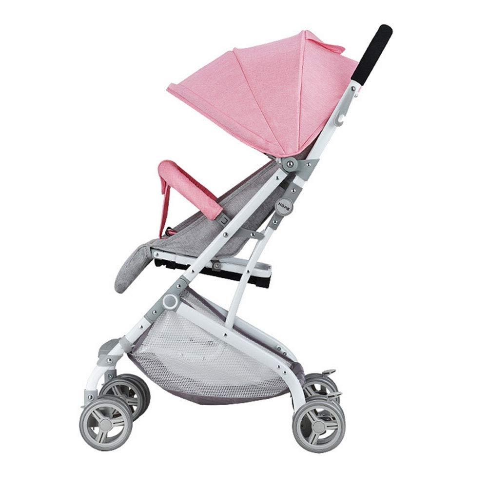 ベビーカー軽量折りたたみはリクライニング安全シート日焼け止め耐衝撃性を座ることができます,Pink  Pink B07MLQKVSN