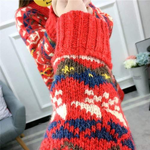 Modle Cardigan Impression Mode Manteaux Basic en Manches Hiver Bouffant Jeune Cou Longues Tricot Vetement Jumper V Coat Rouge Branch Automne Manteau Femme S8xfgaWWz