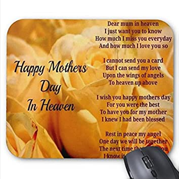 mousepad happy mother day quotes in heaven print pink mouse mat