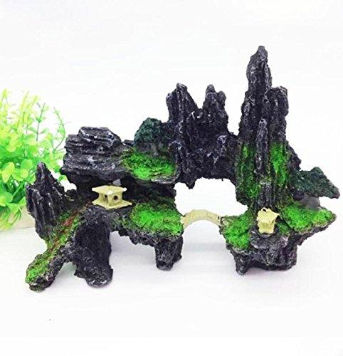 Fish Tank Aquarium Decor Rockery Resin Ornaments With Bridge Pavilion Covered With Green Moss Landscaping Decoration (Black)