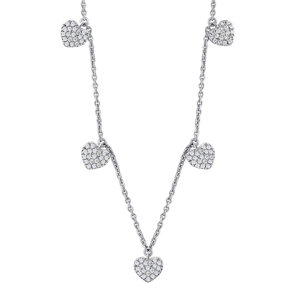 Heart Design Station Necklace for Women 925 Sterling Silver Diamond Accents Long Necklace Free Cable Chain 18''