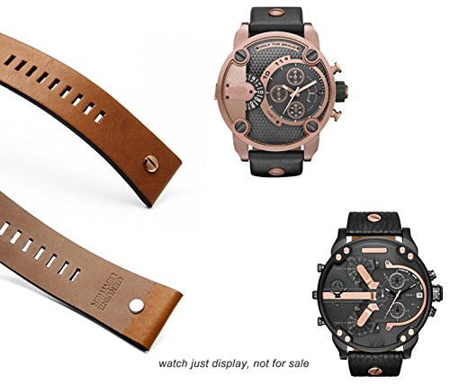 MSTRE NP67 24mm/26mm Calfskin Leather Watch Band Suitable for Men's Diesel Watches (24mm, Brown) by MSTRE (Image #2)