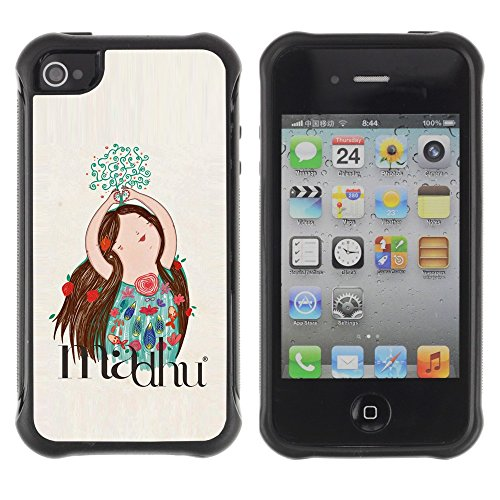All-Round Hybrid Rubber Case Hard Cover Protective Accessory Compatible with Apple iPhone 4 & 4S - drawing floral flowers hand drawn