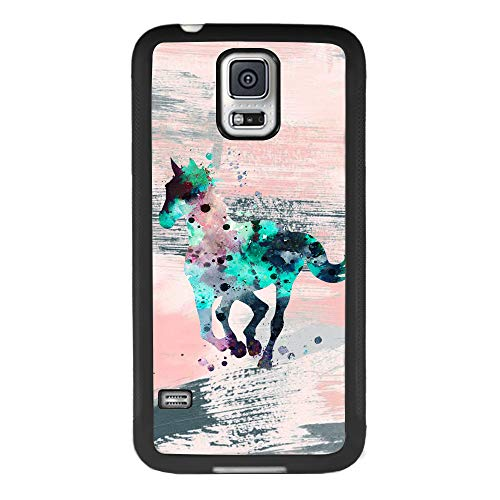 Samsung Galaxy S5 Case Tie Dye Horse Soft Black TPU Rubber and PC Anti-Slip Grip Cover Case, Shockproof Defend Protective Phone Case for Samsung Galaxy S5 (Case Dye S5 Tie Galaxy)