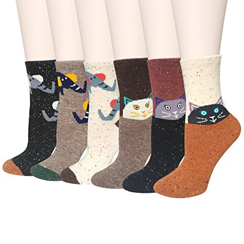 6-Pairs-Womens-Wool-Cute-Animal-Design-Funny-Soft-Cotton-Casual-Socks-by-Amandir