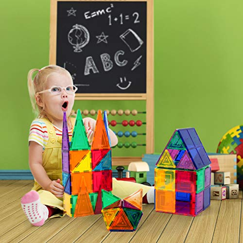 PicassoTiles 60 Piece Set 60pcs Magnet Building Tiles Clear Magnetic 3D Building Blocks Construction Playboards…
