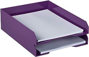 JAM PAPER Stackable Paper Trays - Purple - Desktop Document, Letter, File Organizer Tray - 2/Pack