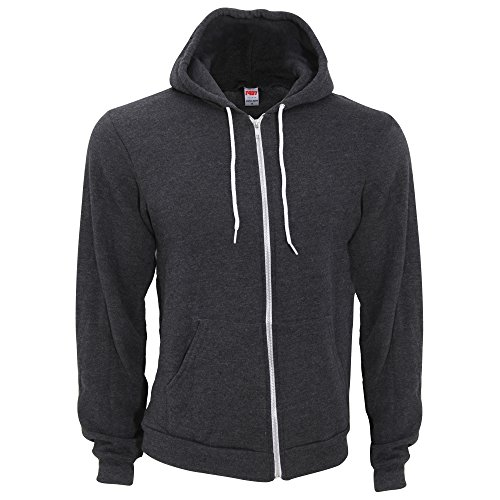 american-apparel-unisex-flex-plain-full-zip-fleece-hoodie-xl-dark-heather-grey