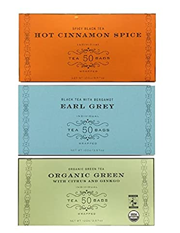 Harney & Sons Variety Pack Total of 150 Tea Bags (50 Bags Earl Grey,50 Bags Hot Cinnamon Spice,50 Bags Organic Green with Citrus and (Yogi Tea Assortment)