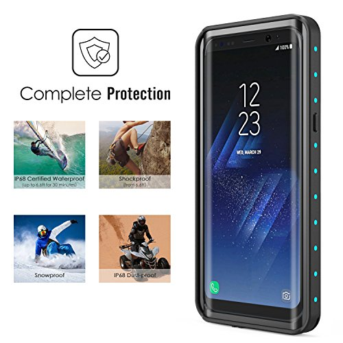 Samsung Galaxy S8 Waterproof Case, MoKo Ultra Protective Case with Built-in Screen Protector Shock-absorbing Bumper Dustproof Submersible Full-body Case for Galaxy S8 Only, Black + Blue
