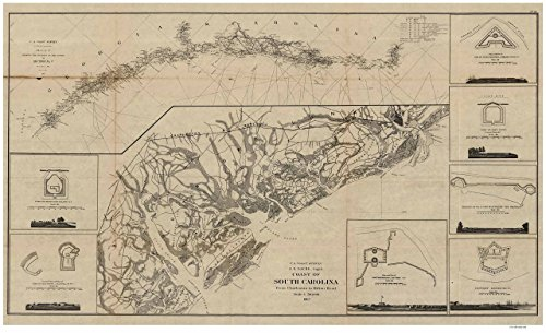 South Carolina Coast 1862 map from Charleston to Hilton Head - Bache - LC Other Reprint