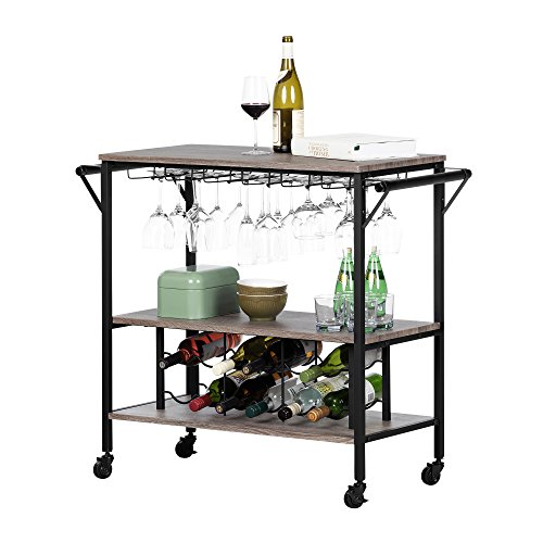 South Shore 12069 Munich Bar Cart with Wine Rack, Weathered Oak and Matte Black