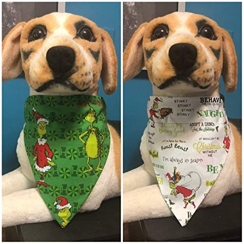 The Grinch Who Stole Christmas Dog.Reversible Slide On Bandana Dr Seuss How The Grinch Stole Christmas Over The Collar 2 In 1 Cats Dogs