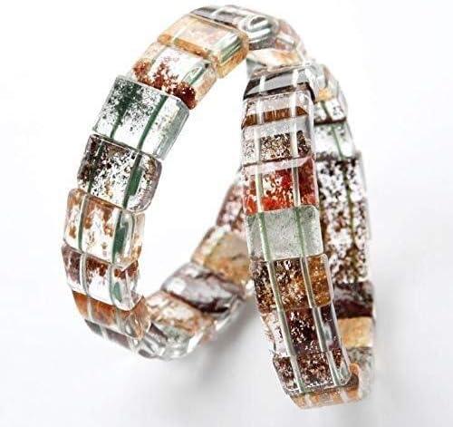 女性レディクリスタル長方形ビーズストレッチ天然石ブレスレットバングルのための自然カラフルなファントムクォーツブレスレット