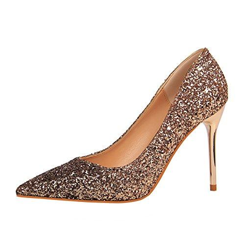 G FLYRCX Talon Aiguille a Talon Aiguille Pointu Chaussures Simples Chaussures de Mariage de Mode de Bouche Bouche Peu Profonde 34 EU