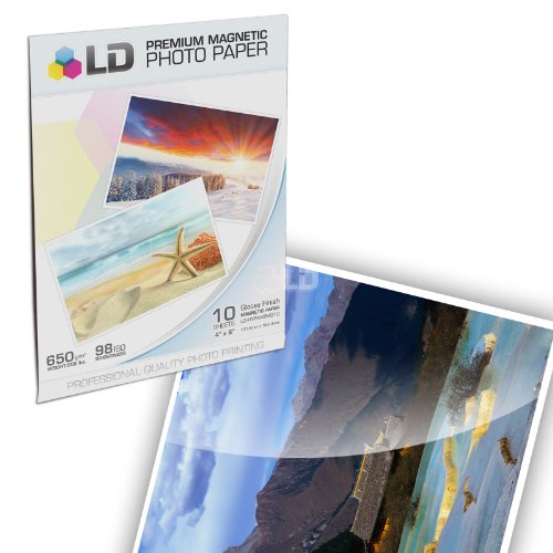 [LD © Glossy Inkjet Magnetic Photo Paper 4x6 (10 Sheets)] (Glossy Magnetic Paper)
