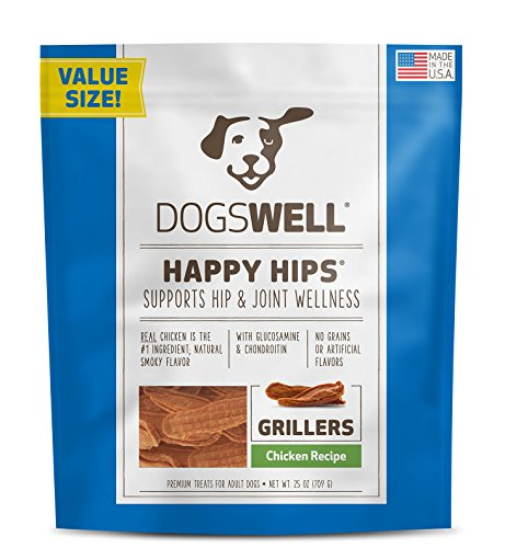 Dogswell Happy Hips 100% USA Chicken Breast Grillers Dog Treats with Glucosamine, Chondroitin, & Vitamin E, & Grain Free, 25 oz
