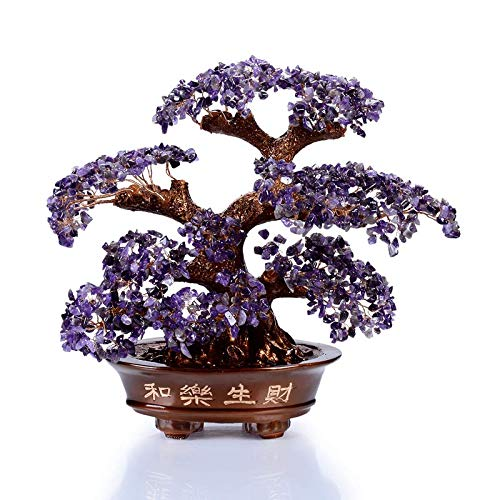 KALIFANO Natural Amethyst Gemstone Chakra Crystal Tree with Healing Properties - Bonsai Feng Shui Money Tree for Positive Energy, Luck and Wealth