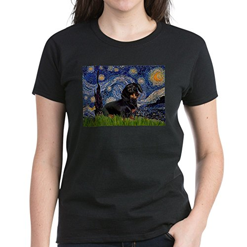 CafePress Starry Night Dachshund Women's Dark T Shirt Womens Cotton T-Shirt Black