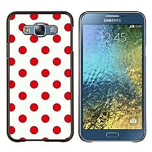 Modelo rojo del lunar Diseño Limpio- Metal de aluminio y de plástico duro Caja del teléfono - Negro - Samsung Galaxy E7 / SM-E700