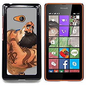 - Muscle Man Beard Long Tattoo Arm Ink Art - - Snap-On Rugged Hard Cover Case Funny HouseFOR Microsoft Nokia Lumia 540 N540