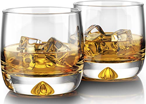 Premium Whiskey Glasses - Large 12oz (Set of 2) - Lead Free Hand Blown Crystal - Thick Weighted Bottom - Seamless Handmade Design - Perfect for Scotch, Bourbon, Manhattans, Old Fashioned's, Cocktails