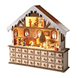 WHAT ON EARTH Lighted Santa's Advent Wooden Workshop