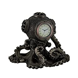Veronese Design 5.2 Inch Steampunk Octopus Diving Bell Clock Antique Inch Statue