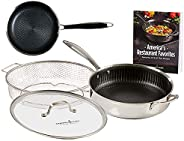Copper Chef Titan Pan, Try Ply Stainless Steel Non-Stick Frying Pans, 5-Piece Cookware Set with Recipe Book (9