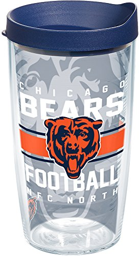 Tervis 1181985 NFL Chicago Bears Gridiron Tumbler with Wrap and Navy Lid 16oz, Clear