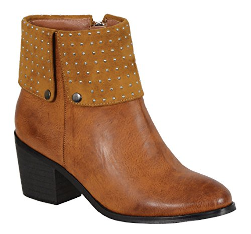 (Milwaukee Performance Women's Side Zipper Entry Round Toe Boots with Studs (Cognac, Size 6))