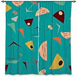 DiaNoche Designs WCL-NikaMartinezMidCentHeroBlue3 Lined Window Curtains, 40W x 82H in For Sale