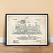 "VINTAGE STEAM LOCOMOTIVE 1915 US PATENT ART POSTER PRINT BENNETT TRAIN ENGINE GIFT UNFRAMED (18"" x 24"")"