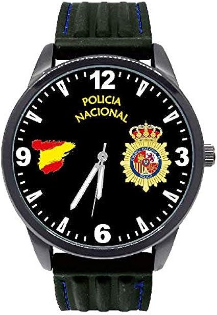 Reloj G&B Policía Nacional Esfera Negra Correa Caucho: Amazon.es ...