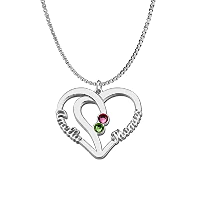 d04e0c93c53d38 Ouslier Personalized 925 Sterling Silver Birthstone Heart Name Necklace  Custom Made with 2 Names (Silver