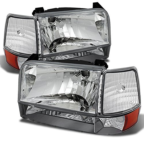For Ford Bronco F150 F250 F350 OE Replacement Chrome Headlights Corner Signal Left/Right Lamps Set
